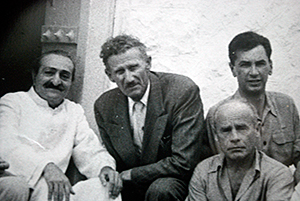Meher Baba with Francis Brabazon (front far right) and Bill Le Page (behind Francis)